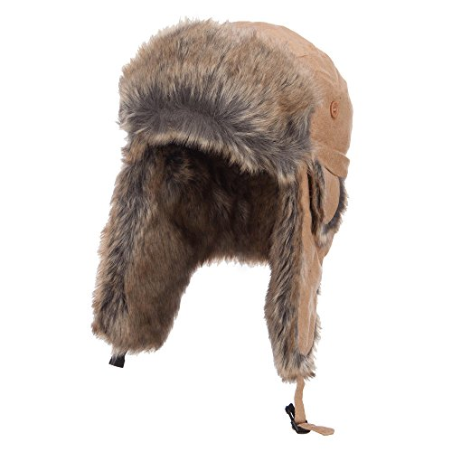 Suede Faux Fur Winter Trooper Hat - Beige XL