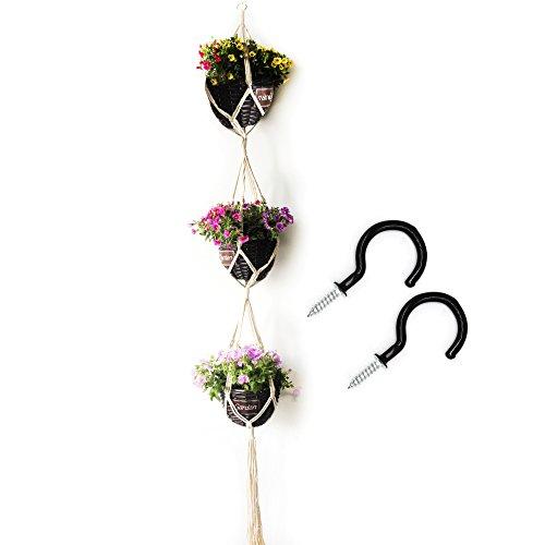 Two Tier Flower Planter - WaterLuu 70 inch Classic Macrame 3 Tier Plant Hanger, Wall Plant Hanger,Garden Plant Flower Hanger,Ceiling Plant Hanger with 2 Hooks
