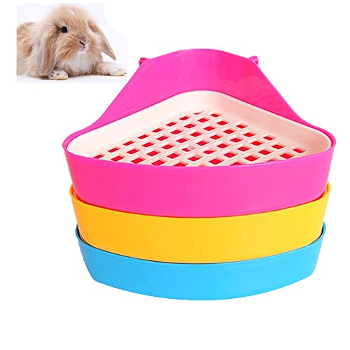 Giveme5 Small Animal Triangle Toilet Potty Trainer Pet Pee Corner Litter Tray Training for Hamster Chinchilla Guinea Pig Cat Bunny Ferret (Color - Bunny Tray