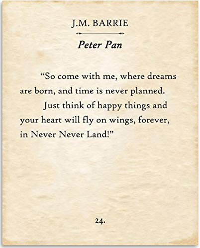 Peter Pan Book Page Art It Is Not In Doing What You Like Print