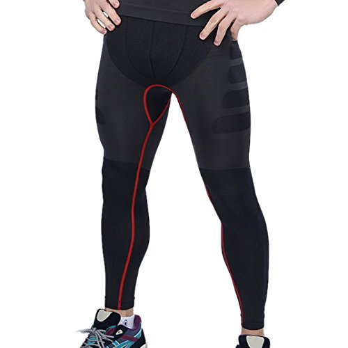 Panegy Black Skin Tights Compression Quick-dry Leggings Base Layer Black Running Pants Mens Size M