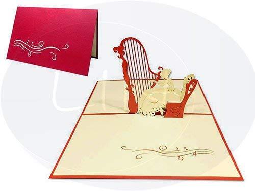 LIN Pop Up–Tarjeta de felicitación para aficionados a la música o como una tarjeta de regalo para un concierto, Mujer...