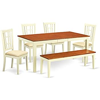 East West Furniture NICO6 WHI C 6 Piece Dining Room Table And 4 Chairs