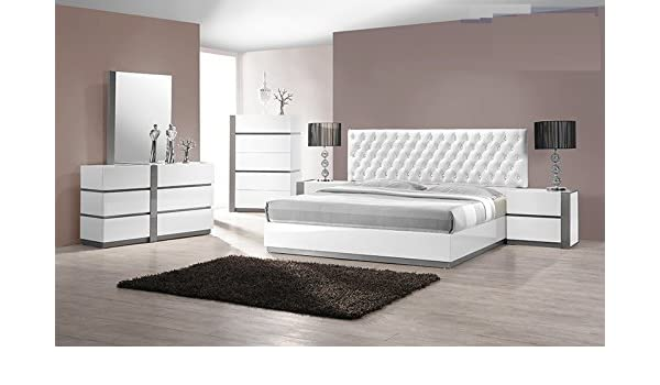 Amazon.com: Modern Seville 4 Piece Bedroom Set Queen Size Bed Mirror ...