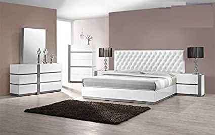 modern seville 4 piece bedroom set eastern king size bed mirror dresser nightstand white lacquer headboard - King Bedroom Sets Exterior
