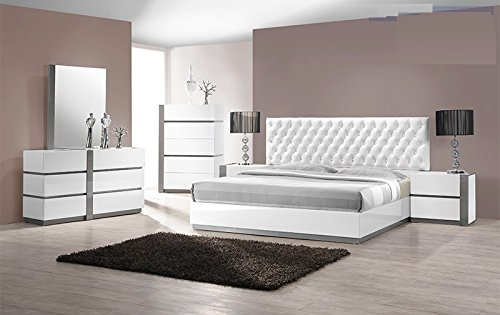 Modern Seville 4 Piece Bedroom Set Queen Size Bed Mirror Dresser Nightstand White Lacquer Headboard With Leather Like & Like Crystals Exterior Bedroom Furniture