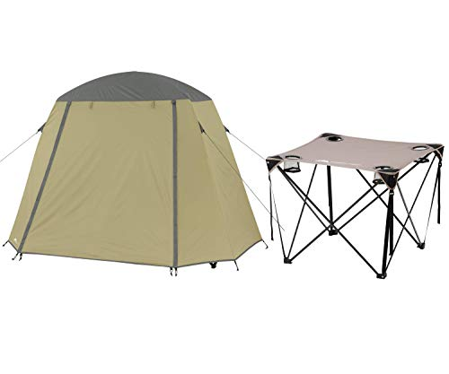OZARK TRAIL One-Person Cot Tent Bundle Quad Folding Table with Cup Holders, Gray