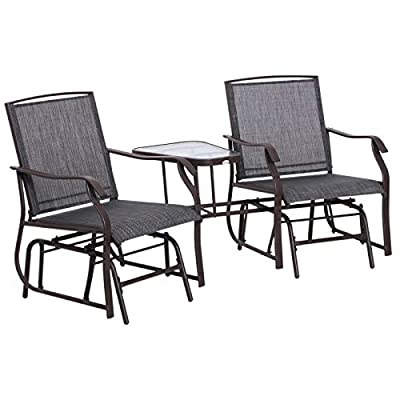 Outsunny Garden Metal Glider Loveseat with Middle Table