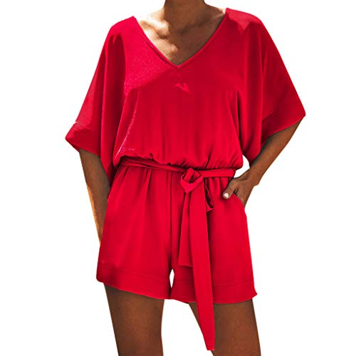 Women Casual Short Sleeve V Neck High Waisted Wide Jumpsuit Beach Playsuits Teresamoon Red