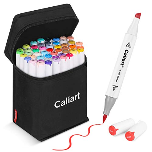 51 Colors Alcohol Brush Markers, Caliart Dual Tip (Brush & Chisel) Art Markers Permanent Sketch Markers for Adults Kids Coloring Artist Sketching Illustration Drawing Calligraphy, Bonus 1 Blender