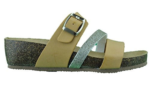 Sandali scalzati donna open toe cuoio argento bio pelle made in Italy