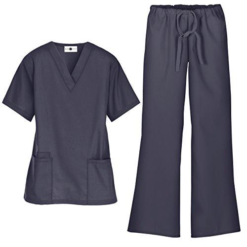 Women's Scrub Set/Medical V-Neck Top & Drawstring Scrub Pant (XS-3X, 7 Colors) (X-Large, Granite)