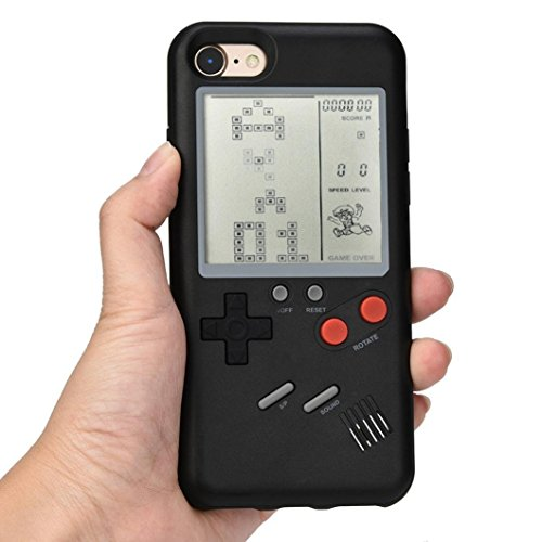 (Black Game Boy Case with Real Games for iPhone 6 6s iPhone6 iPhone6s Regular Size Hard Plastic Material 3D Cartoon Shockproof Protective Cool Fun Cute Lovely Fashion Hot Gift Girls Teens Kids Men)