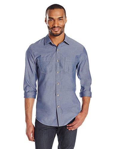 Goodthreads men 39 s slim fit long sleeve chambray shirt for Mens medium long sleeve shirts
