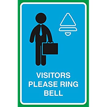 home office signage amazoncom visitors please ring bell print working man picture