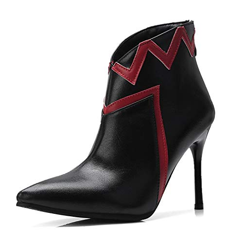Black 5.5 US Black 5.5 US Women's Fashion Boots PU(Polyurethane) Fall & Winter Boots Stiletto Heel Pointed Toe Booties Ankle Boots White Black   Red color Block