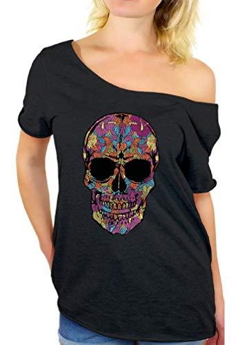 Black Flower Sugar Skull Day of Dead Off Shoulder Top T-Shirt M Black