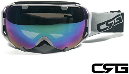 CRG Sports Anti Fog Double Lens Ski Goggles, Snow Goggles, Snowboard Goggles Grey Frame Adult CRG105 Series