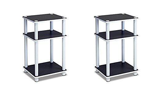 Furinno 11087 Just 3-Tier No Tools Dual Color Reversible End Table, White/Espresso (Pack of 2) by Furinno