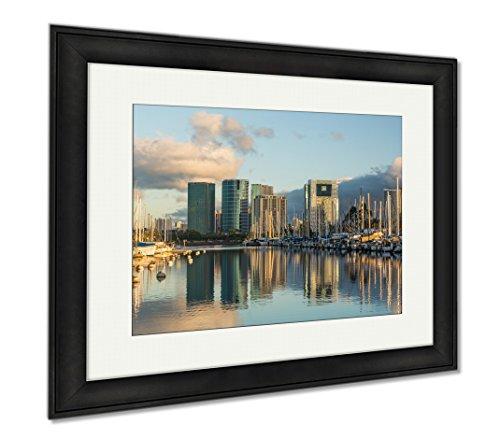 Ashley Framed Prints Harbor At Ala Moana Oahu Hawaii, Office/Home/Kitchen Decor, Color, 30x35 (frame size), Black Frame, - Ala Shops Moana At