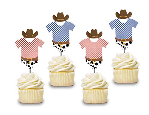 Cowboy Baby shower Cupcake Toppers 12 pcs, Onesie Cake Picks,Western Baby Shower, Birthday Party Decorations Supplies, Rodeo Themed