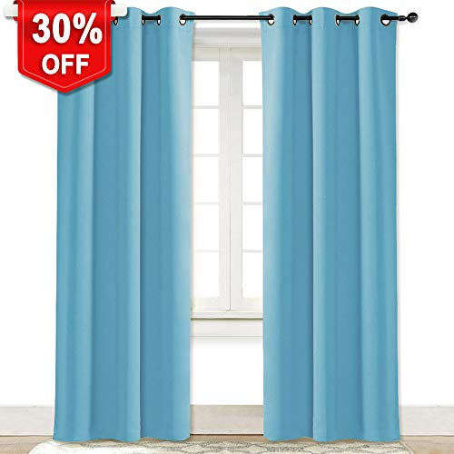 NICETOWN Turquoise Blackout Room Darkening Drapery Window Treatment Thermal Insulated Solid Grommet Curtain/Drape Hall (Teal Blue=Light Blue, Single Panel, 42 84 inch)