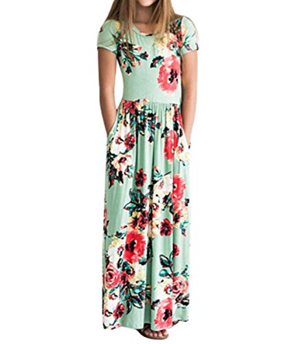 Floral Jumper Dress - Fashspo Girls Floral Flared Pocket Maxi Short Sleeve Holiday Long Dress,Blue,8-9 Years