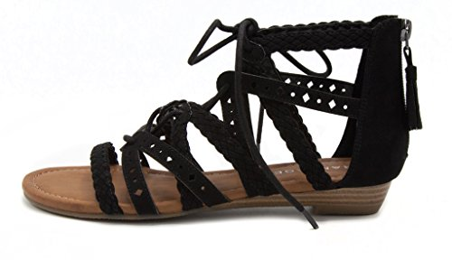 Rampage Womens Shelia Gladiator Braided Flat Lace Up Sandal With Tassel Black Microsuede ohy91Ter6b