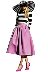 SheIn Women's Long Sleeve White Black Striped Top with Purple Skirt