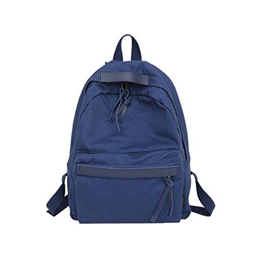 Canvas Backpack Teenage Leisure Backpack Bag Vintage Stylish Bookbag Blue L27 W11 H36cm