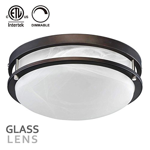 Ceiling Kitchen - TORCHSTAR 12.5 Inch Dimmable LED Flush Mount Ceiling Light, Alabaster Glass Cover, ETL-Listed, 1200lm, 3000K Warm White, Oil Rubbed Bronze Finish for Living Room/Corridor/Hallway/Kitchen/Stairways