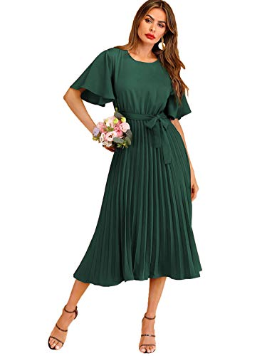 Milumia Women's Elegant Pleated Belted Short Sleeve Solid Long A Line Dress Green X-Large