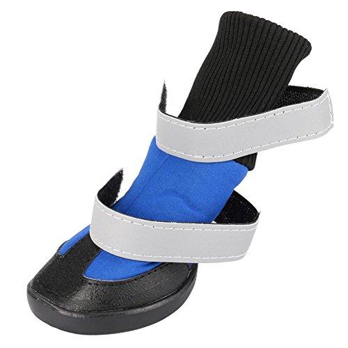 Animale Per Antiscivolo Cani Scarpe Da All'usura Byste Calde stivali Impermeabili Resistente Sneaker 4pcs Neve Blu Domestico Pioggia Stivali EqgXZ