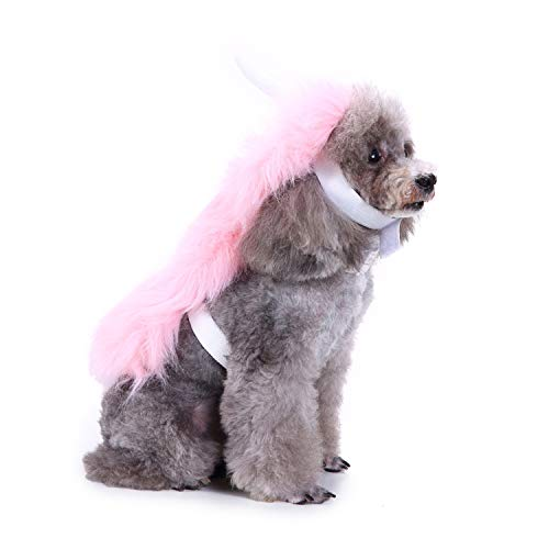 RYPET Dog Halloween Costume - Pink Unicorn Costume Dogs Pups Mane & Horn Headdress Wig Pet Dress Up Party Medium