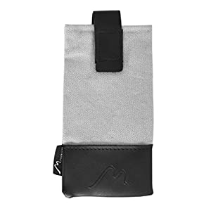 Sunglasses Backpack Pouch by Metier Life   Hook and Loop Strap Attachment to Bag Straps for Easy Access   Microfiber Lining, Canvas and Vegan Leather Construction for Soft Case Protection (Grey/Black)