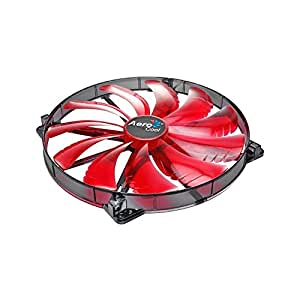 Aerocool Silent Master - Ventilador para caja de ordenador (3.5 A, 12 V, 3 W, 200 mm), rojo