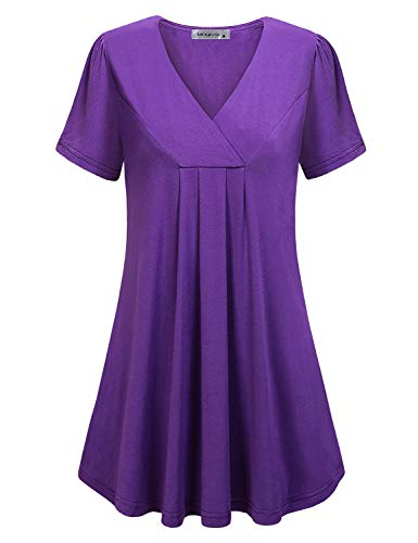 MOQIVGI Long Tunic Tops for Women,Vneck Short Sleeve Boutique Shirts Pure Color Simple Base Loose Fitting Cute Casual Flowy Work Blouses for Leggings Lady Summer Clothes Fashion 2019 Purple Large