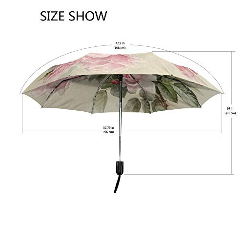(Vintage Shabby Floral Women Rain Umbrella Chic Pink Rose Three Folding Girl Durable Portable Umbrellas Automatic Rain Gear)