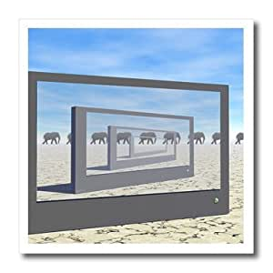ht_173734_3 Phil Perkins - Animals - Elephants On The Move - surreal scene of elephants and monitors - Iron on Heat Transfers - 10x10 Iron on Heat Transfer for White Material