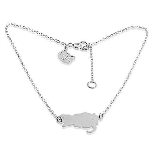 Cute Cat Kitty Charm Pendant Anklet (sterling-silver) - Cat Sterling Silver Anklet