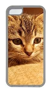 Customized Case Cute cat 2 TPU Transparent for Apple iPhone 5C