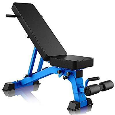 YouTen Adjustable Bench, 9 Positions Incline Decline Sit Up Bench for Abs Exercise, Handles for Dragon Flag, Weight Capacity Rated Full Body Workout Foldable Bench for Dragon Flag