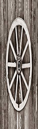 Barn Wood Wagon Wheel 3D Decorative Film Privacy Window Film No Glue,Frosted Film Decorative,Retro Wheel on Timber Wall Barn House Village Cart Circle Decorative,for Home&Office,17.7x59Inch Dark Brown