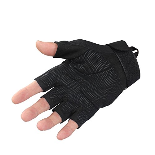 (TYoung Military Half-finger Fingerless Tactical Glove Special Ops 1/2 Finger Light Assault Glove for Fitness Exercise Outdoor Sports CS Hunting Riding Cycling Black - L)