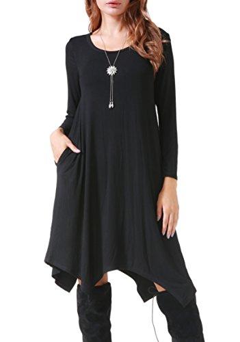 Invug Women Casual Loose Soft Crewneck Long Sleeve Pockets Swing T-Shirt Dress Black -