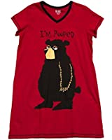 "Lazy One Womens V-neck Nightshirt ""I'm Pooped"" Bear"