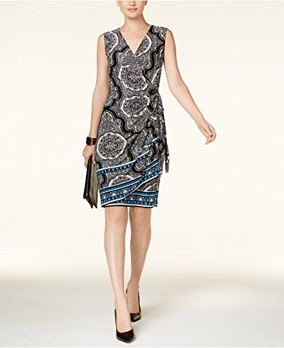 INC International Concepts Women's Mixed-Print Wrap Dress Barbeque Knob XXL ()