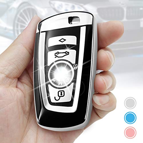 BMW Key Fob Cover,Key Fob Protector Case for BMW 1 3 4 5 6 7 Series X3 X4 M5 M6 GT3 GT5 Remote Control Key Premium Soft TPU Anti-dust Full Protection by Smof (Silver) ()