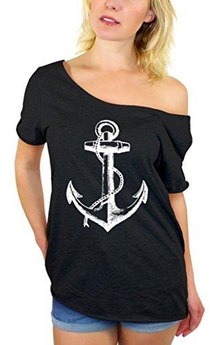 Awkward Styles Awkwardstyles Women's Anchor White Off Shoulder Tops T-Shirt + Bookmark XL (Nautical Crop)