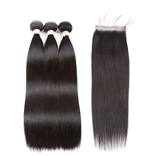 Hair Extension 100% Human Hair Bundles With Closure Brazilian Hair Weave Bundles Straight 3 Bundles With Lace Closure,18 18 18+14Closure,Natural Color,United States,Free Part